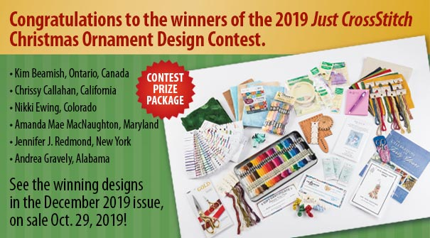 Congratulations to the winners of the 2019 Just CrossStitch Christmas Ornament Design Contest.